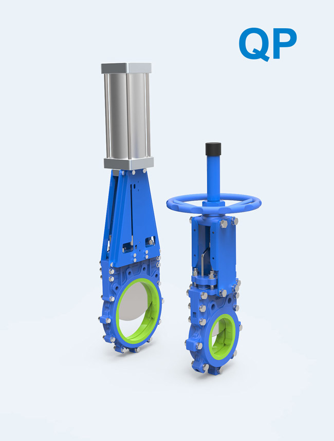【QP series】</br> 2PC Body Bi-directional seal Polyurethane lined Knife Gate Valve for mineral processing, sewage, tailings, slag, seawater, and other acid and alkali, wear